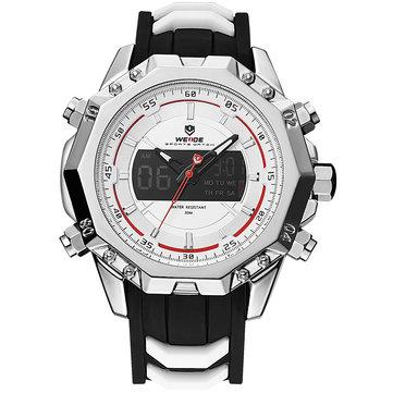 WEIDE 6406 Dual Pantalla reloj digital calendario alarma reloj luminoso plata Caso reloj deportivo para hombre