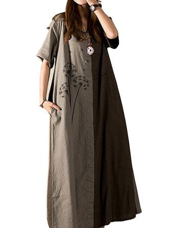 Casualowa sukienka Maxi z długim rękawem w kratkę z nadrukiem Dandelion