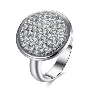 Circular circón zircon platino regalo partido boda anillos de dedo