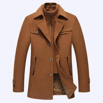 शरद ऋतु शीतकालीन फैशन व्यापार डबल कॉलर आरामदायक जैकेट पुरुषों के ऊन गर्म जैकेट लंबी ट्रेंच कोट