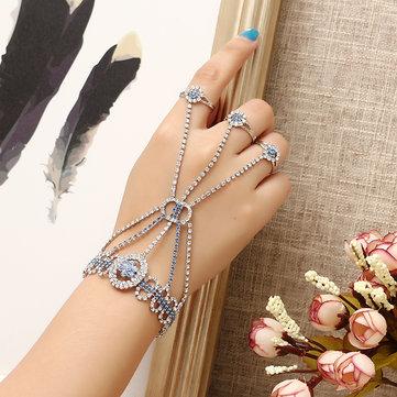 JASSY® Fashion Luxury Palm Bracelet with 3 Rings Trendy Zircon Platinum Plated Jewelry For Women