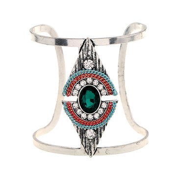 Bohemian Triangle Adjustable Bracelet Vintage Crystal Rhinestones Wide Bangle Bracelet for Women