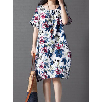 Vintage Women Loose Printing Short Sleeve Elegant Dress