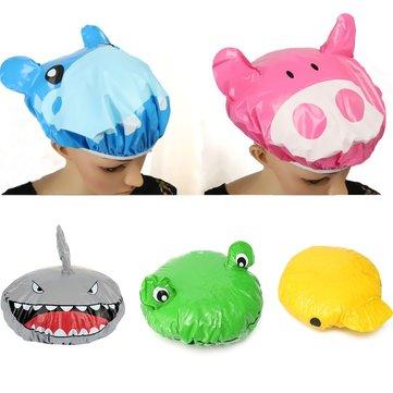 Waterproof PVC Cartoon Animal Shower Cap Bath Hat Hair Cover Protector