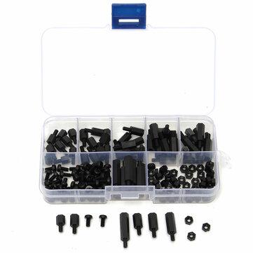 Suleve™ M3NH5 180Pcs M3 Nylon Screw Black Hex Screw Nut PCB Standoff Spacer Column Assortment Kit