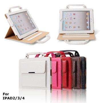 PU Leather Stand Case med håndtak og oppbevaringsrom for iPad 2 3 4 - Perfekt for reise