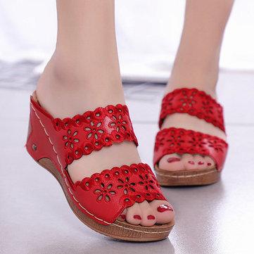 Women Shoes Casual Flowers Hollow Hook Loop Sandals