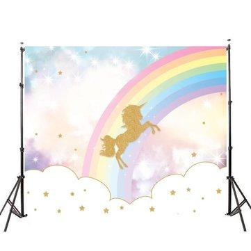 5x3ft 7x5ft Rainbow Sky Gold Unicorn Photography Backdrop Studio Prop Background