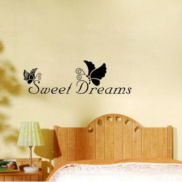 22X72CM Sweet Dreams Butterfly PVC Citat Wall Sticker Bakgrund