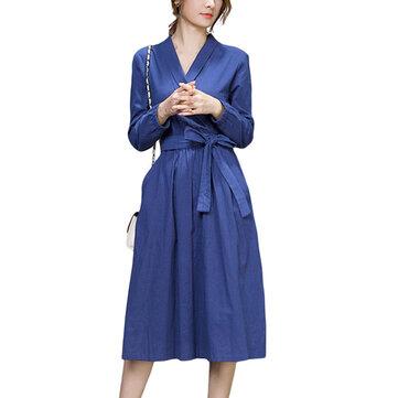 बो बेल्ट काम स्लिम शुद्ध रंग लंबी आस्तीन वी गर्दन पॉकेट महिला मिडी पोशाक