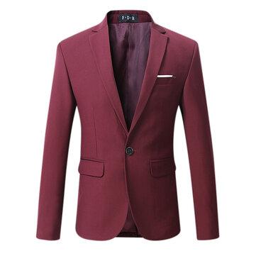 वसंत शरद ऋतु आरामदायक व्यापार सूट स्लिम फिट फैशन ठोस रंग पुरुष ब्लेज़र प्लस आकार एस -4 एक्सएल