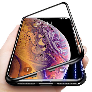 Bakeey Beskyttelsesveske til iPhone XR Magnetic Adsorption Metal Bumper + 9H Tempered Glass Back Cover