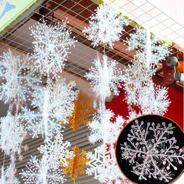 6pcs Christmas Ornament 3D White Snowflake Plastic Christmas Tree Window Christmas Decoration
