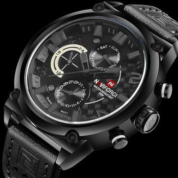 NAVIFORCE 9068 Waterproof Calendar Men Wrist Watch Casual Genuine Leather Strap Quartz Watch