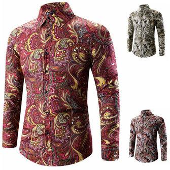 Mens National Printing Fashion Casual Plus Storlek Slim Fit Långärmade T-shirts