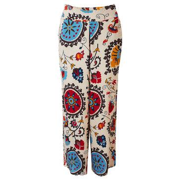 महिलाओं के लिए आरामदायक विंटेज मुद्रित लिनन Baggy वाइड पैर पैंट