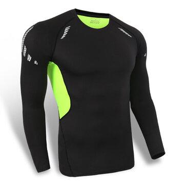 पुरुषों तंग सांस लेने वाली त्वरित त्वरित सुखाने की खिंचाव लंबी आस्तीन टी शर्ट खेल Teaning Tees