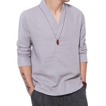 V-hals Minimalist Vintage Style Lös Komfort Linnen Skjortor för män