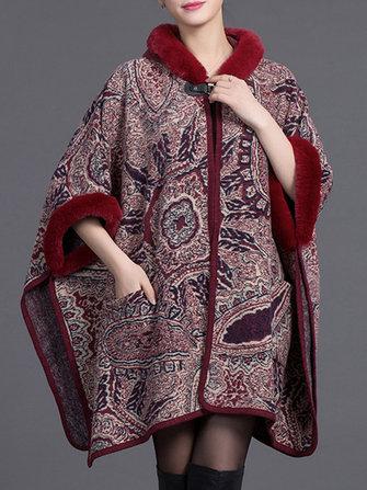 Women Cloak Shawl Hooded Print Batwing Sleeve Cardigan Coats