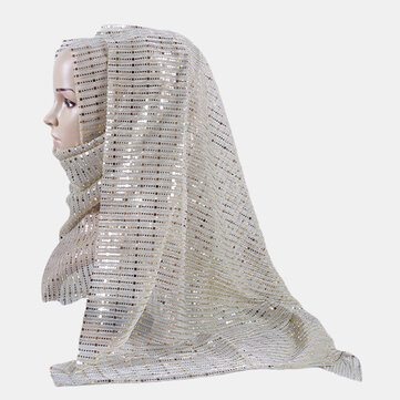 Buy Gold and Silver Soft Hijab Islamic Shawl Scarf Gold and Silver with Litecoins with Free Shipping on Gipsybee.com