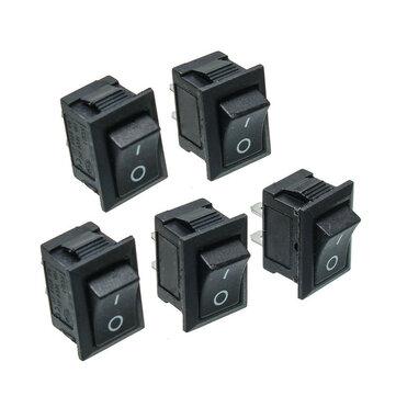 5pcs Black Push Button Mini Switch 6A-10A 110V 250V KCD1-101 2Pin Snap-in On/Off Rocker Switch
