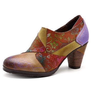 SOCOFY Handmade Printing Pattern Leather Zipper Chunky Heel Pumps