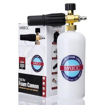 MATCC Adjustable Snow Foam Lance Washer Soap 1L Bottle High Pressure Washer Gun Foam Cannon