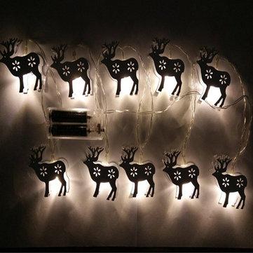 Battery Powered 1.65M 10LEDs Elk Shape Warm White Indoor Night Mood Fairy String Light For Christmas