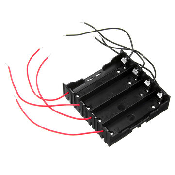 DIY 4 Slot 18650 Battery Holder With 8 Leads