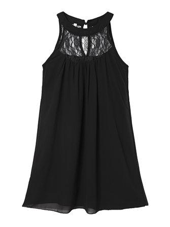 Mujeres fáciles sexy mini vestido de la gasa del remiendo del cordón del halter sólido