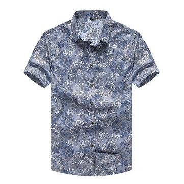पुरुषों बड़े आकार XS-5XL प्लेड सजावटी पैटर्न मुद्रण लघु आस्तीन ग्रीष्मकालीन फैशन आरामदायक शर्ट