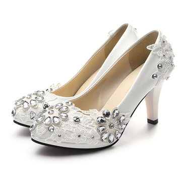 White Floral Lace Shiny Crystal High Heels Wedding Shoes