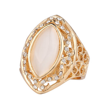אתני לבן ריינסטון אצבע טבעת חלול סגלגל גיאומטרי טבעות וינטג תכשיטים לנשים