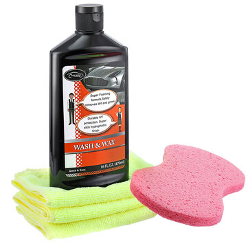 500ML Car Wash Wax 3Pcs Microfiber Towels With Washing Sponge Cleaning Beauty Set