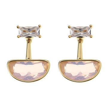 JASSY® Elegant Pink Ear Stud Rose Water Opal Quartz Luxury Gold Plated Earrings Jewelry for Women