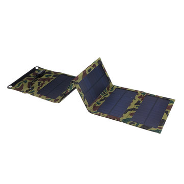 15W Portable Foldable Solar Panel Charger with USB Port for Camping Hiking Climbing Phone Charging