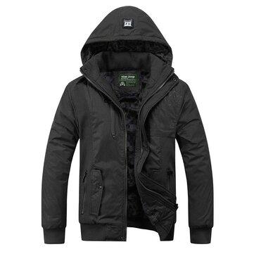 पुरुषों मोटी हुड पानी प्रतिरोधी जैकेट डिटेक्टेबल हुड जिपर पॉकेट कोट