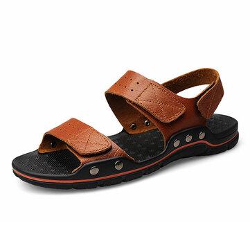Hombres de gran tamaño Cómodo y transpirable Piel Genuina Gancho Zapatos Loop Sandalias