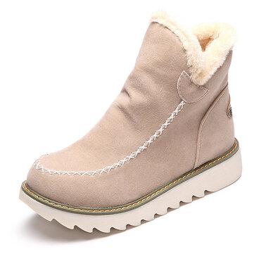 LOSTISY גדול גודל שלג נעליים צבע טהור חם פרווה בטנה חורף הקרסול לנשים