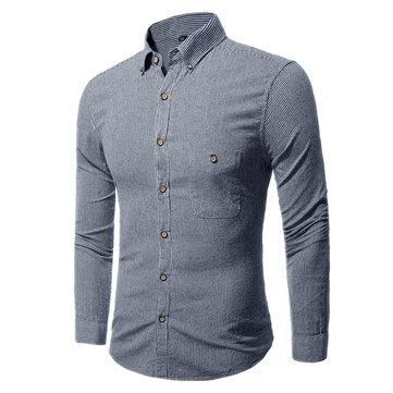 Mens Classic Striped Fashion Casual Långärmad tröja S-3XL