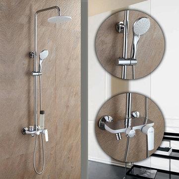 Frap F2431 Cuarto de baño Montado en la pared, blanco, redondo, rociador, lluvia, ducha superior, con, cabeza de ducha, mano, y, grifo, ducha, conjuntos