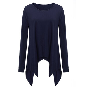 Casual Asymmetrical Hem Solid Color T-Shirt For Women