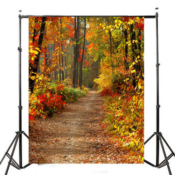 3x5FT Autumn Forest Path Theme Photography Vinyl Backdrop Studio Background