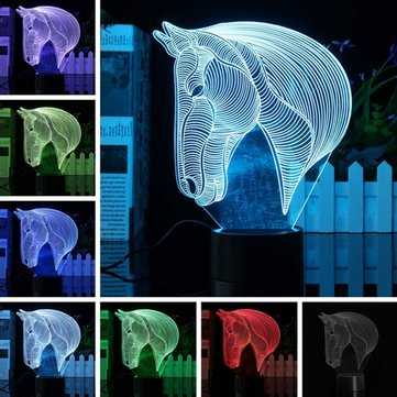 3D Art Horse Head 7 Färg Ändra Bulding LED Night Lamp Light Bedroom Xmas Gift