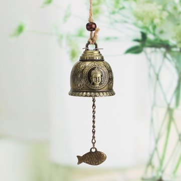 Vintage Alloy Buddha Statue Bell Blessing Feng Shui Wind Chime for Good Luck Fortune Crafts Home Car Hanging Decor  Home Car Hanging Decor Gift Crafts
