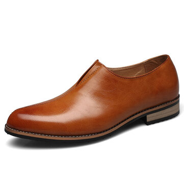 Men Casual Business Comfy Genuine Leather Flat Loafers Slip On Oxfords