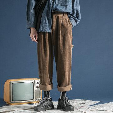 Mens विंटेज शीतकालीन कॉरडरॉय ढीला कार्गो मल्टी जेब सीधे पैर पैंट