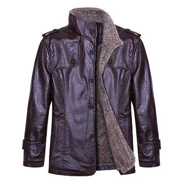 पुरुषों की गुणवत्ता पु चमड़ा जैकेट स्लिम फिट प्लश मोटी गर्म जैकेट कोट