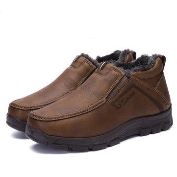 מגפיים גברים חורף פרווה נעליים חמות כובע שלג עוף חורף ספורט נעלי ספורט כותנה עור