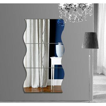 Honana DX-Y1 6Pcs Cute Silver DIY Waves Mirror Wall Stickers Home Wall Bedroom Office Decor